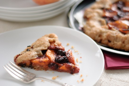 slice of blackberry peach galette