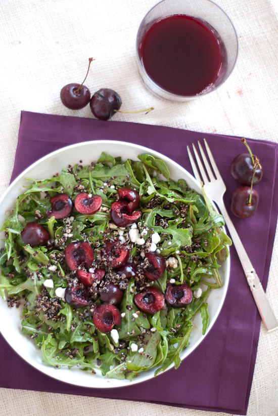 cherry arugula salad with quinoa, goat cheese and balsamic vinaigrette