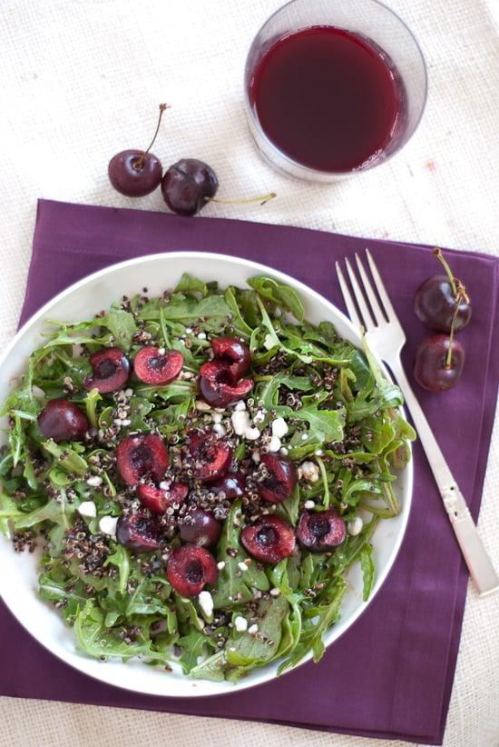 cherry arugula salad with quinoa, goat cheese and balsamic vinaigrette