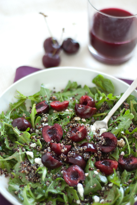 healthy quinoa, cherry and arugula salad recipe