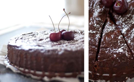 cherry chocolate cake slice