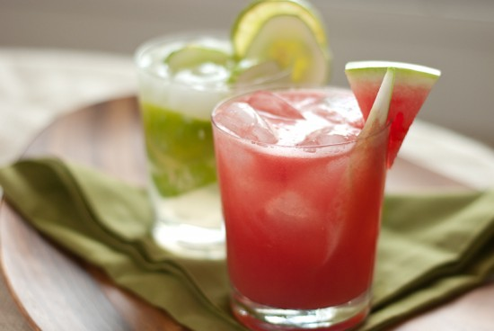 watermelon cucumber cooler and cucumber caipiranha