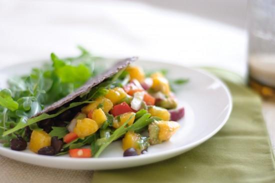 peach salsa tacos with arugula and black beans