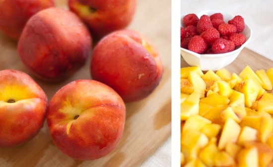 peaches and raspberries for sorbet