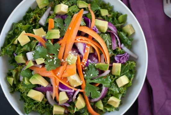 Asian raw kale salad with red pepper dressing - cookieandkate.com
