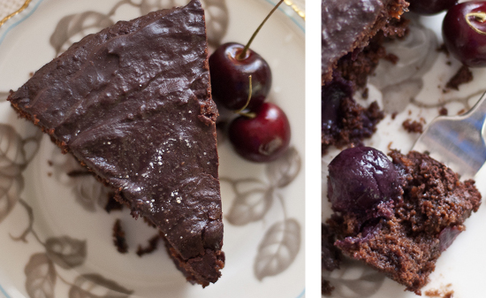 slice of cherry chocolate cake