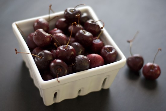 carton of fresh cherries