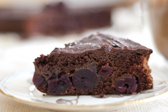 slice of vegan cherry chocolate cake