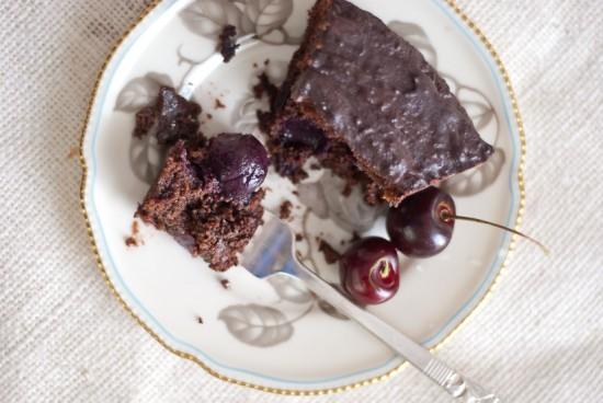 cherries inside vegan chocolate cake