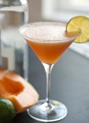 cocktail made with cantaloupe, tequila, lime juice and agave nectar