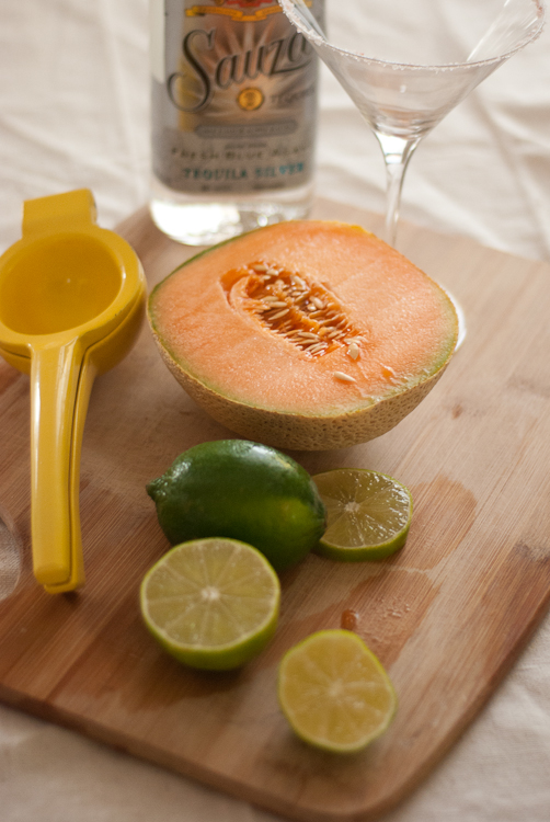 ingredients for cantaloupe cocktail