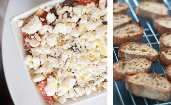 feta appetizer and crostinis