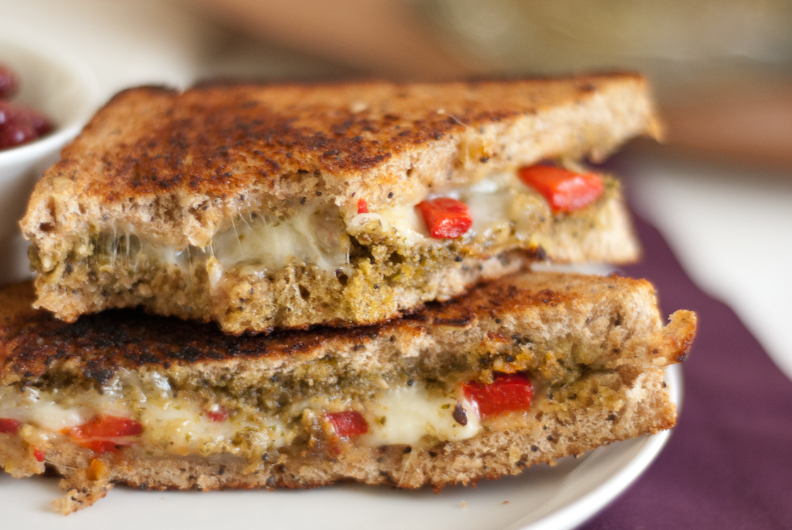 ... mozzarella, and roasted red peppers or tomatoes on good whole wheat