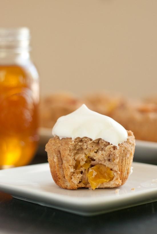 nectarine buttermilk cupcake with honey whipped cream