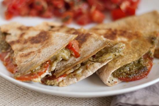 pesto and tomato quesadilla