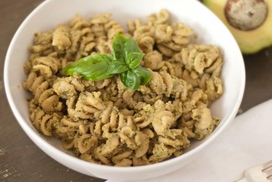 avocado basil pesto with whole grain pasta