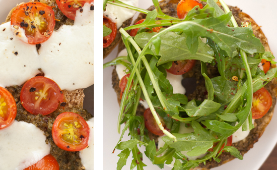 pesto, tomatoes and mozzarella pearl bagel pizza