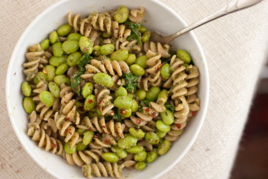pesto, edamame and whole wheat pasta