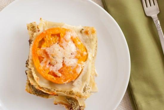 pesto lasagna with fresh tomatoes