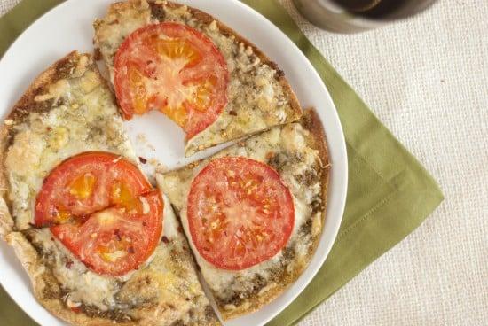 healthy pesto tortilla pizza