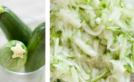 shredded, grated zucchini