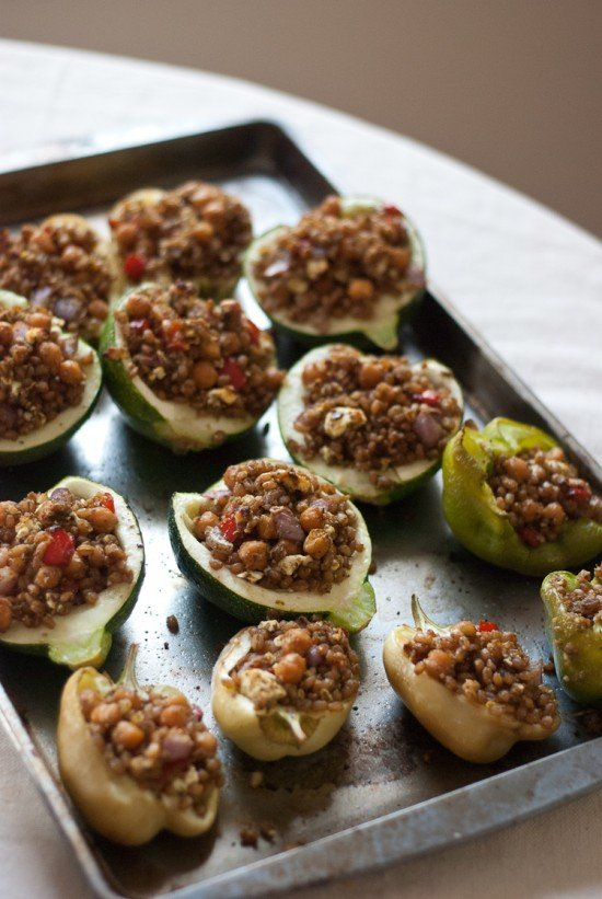stuffed vegetables with pesto and wheat berries