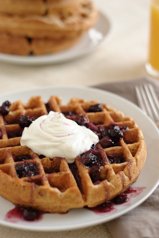 waffles and blueberry ginger syrup from green market baking book