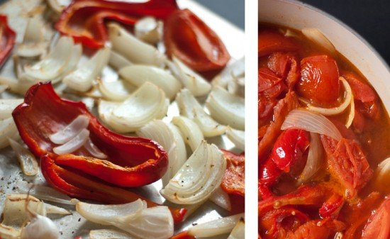 roasted red peppers and onions