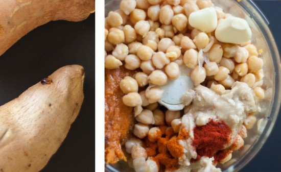 hummus with sweet potatoes, cayenne pepper, paprika and cumin