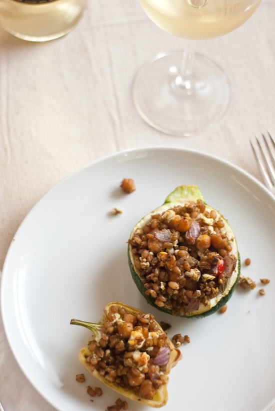 wheat berry stuffed globe zucchini
