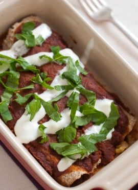 Breakfast Enchiladas with Roasted Poblano Sauce