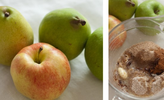 mini pear and apple crisps