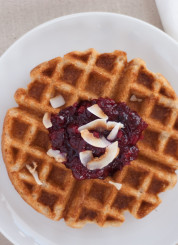 coconut waffles and cranberry sauce