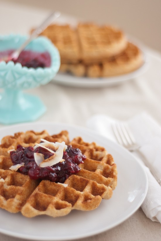 coconut waffles with cranberry sauce