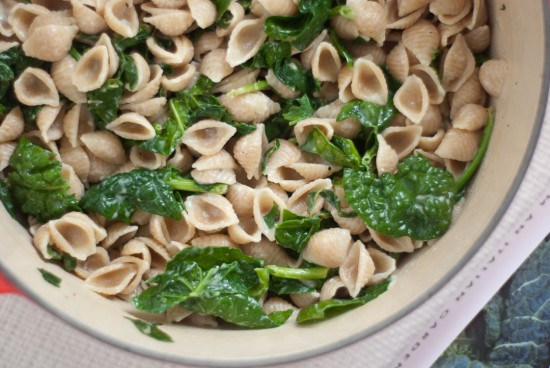 orecchiette with steamed spinach