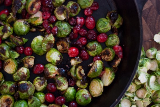 roasted brussels sprouts with cooked fresh cranberries