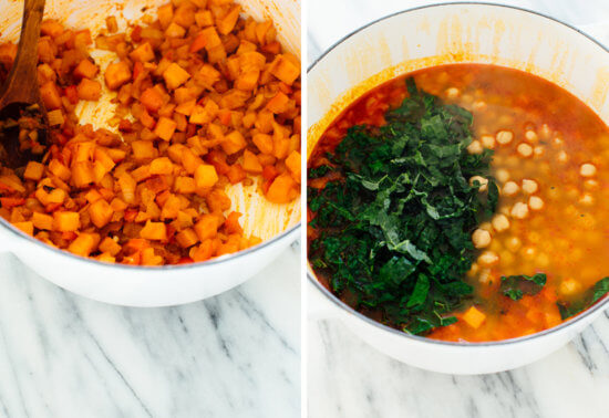 how to make kale, farro and chickpea soup