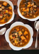 sweet potato, kale and chickpea soup with farro