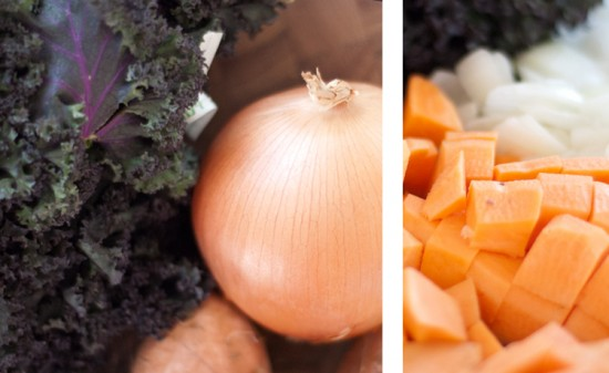 sweet potato, kale, chickpea, soup ingredients
