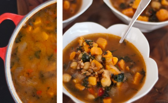 sweet potato, kale and chickpea soup recipe