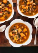 Sweet potato, kale and farro soup - cookieandkate.com