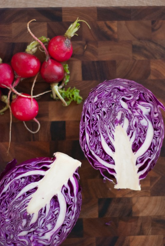 radishes and purple cabbage