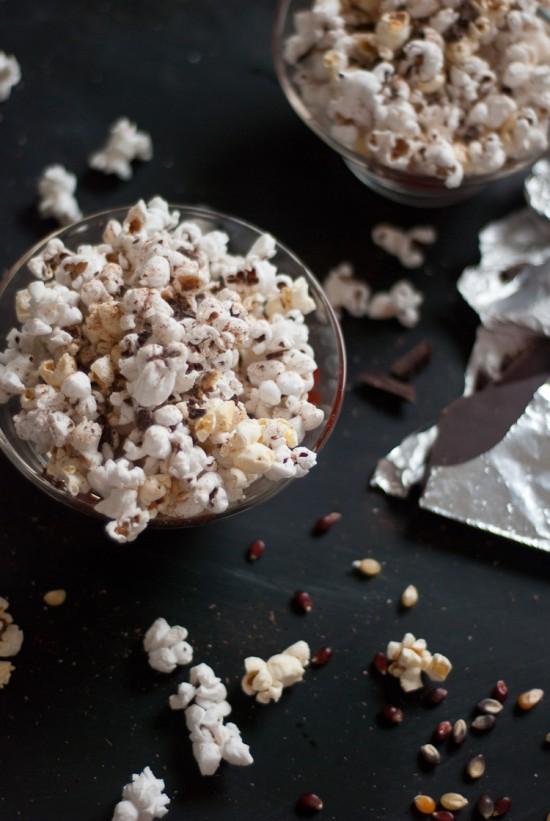 popcorn with chili powder and dark chocolate