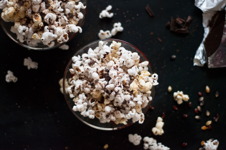 Stovetop Popcorn With Chili Powder And Dark Chocolate