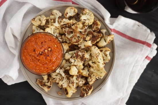 roasted red pepper pesto with roasted cauliflower