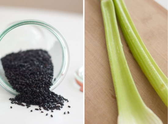 black rice and celery