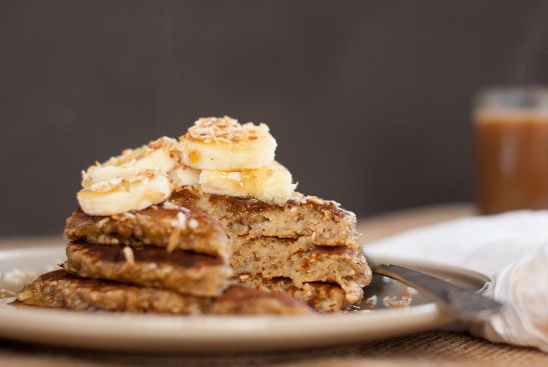 Gluten free banana oat pancakes stack of banana pancakes ccuart Images