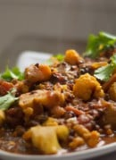 Indian-spiced tomato and lentil stew