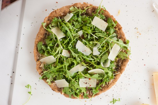 arugula pesto lemon whole wheat pizza