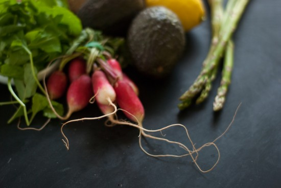 radish, avocado and asparagus